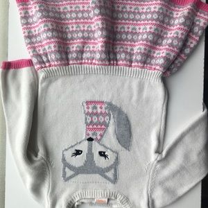 Gymboree White, Grey and Pink Fox Sweater Dress